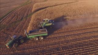 DONNIE MYERS FARMS SHELLING CORN WEST LIBERY, IN DEC. 1ST, 2017 2 16 ROW CORN HEADS DRONE VIDEO