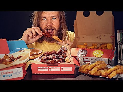 EATING A Domino's Sticky Chicken Feast [ASMR]