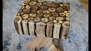Walnut logs Side Table