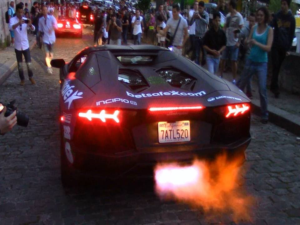 Gumball 3000 2014 rally in Paris flame - YouTube