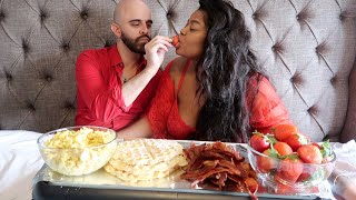 Happy Valentine's Day!! BREAKFAST FOOD MUKBANG!!! WAFFLES, CHEESE EGGS, BACON, AND MORE!