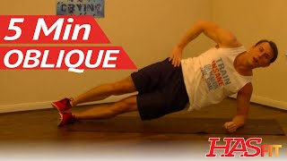 5 Minute Oblique Workout - Loose Love Handles Workouts - HASfit Love Handles Exercises for Obliques