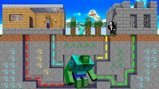Minecraft NOOB vs PRO vs HACKER vs GOD : UNDERGROUND MAZE TO ZOMBIE MUTANT BATTLE | Challenge!
