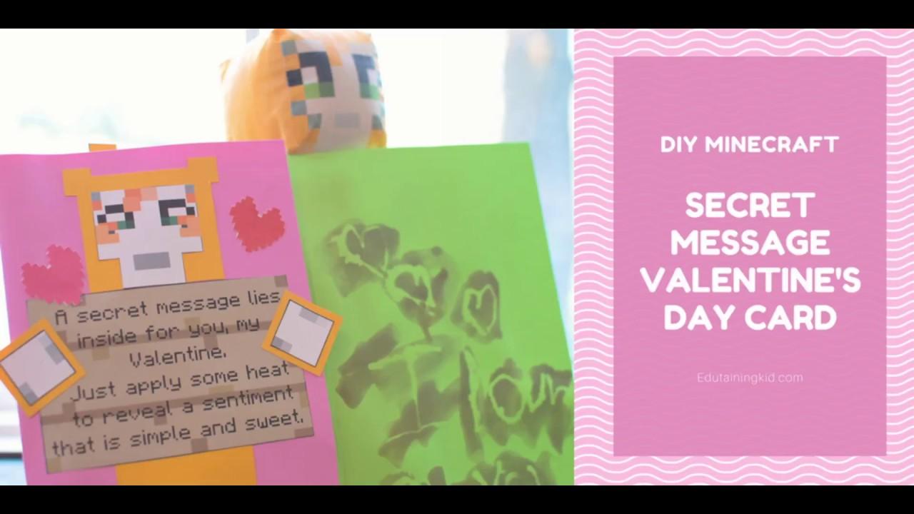 Diy Secret Message Minecraft Valentine S Day Card Youtube