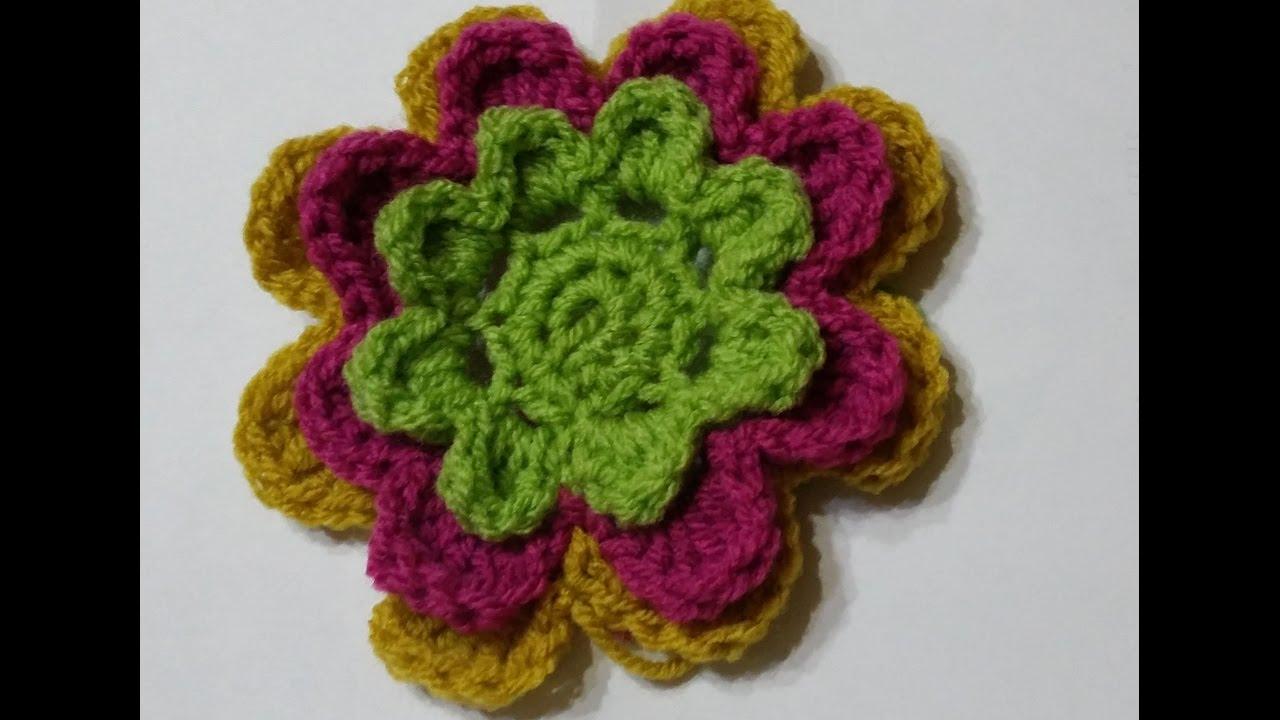 Fiori 3d Uncinetto.Fiore 3d All Uncinetto 3d Crochet Flower Flor Del Ganchillo 3d