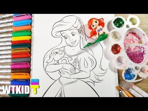 Ep17 💚 Coloring Ariel Disney Princess |  ระบายสีเจ้าหญิงเงือกน้อยแอเรียล  | wtkid