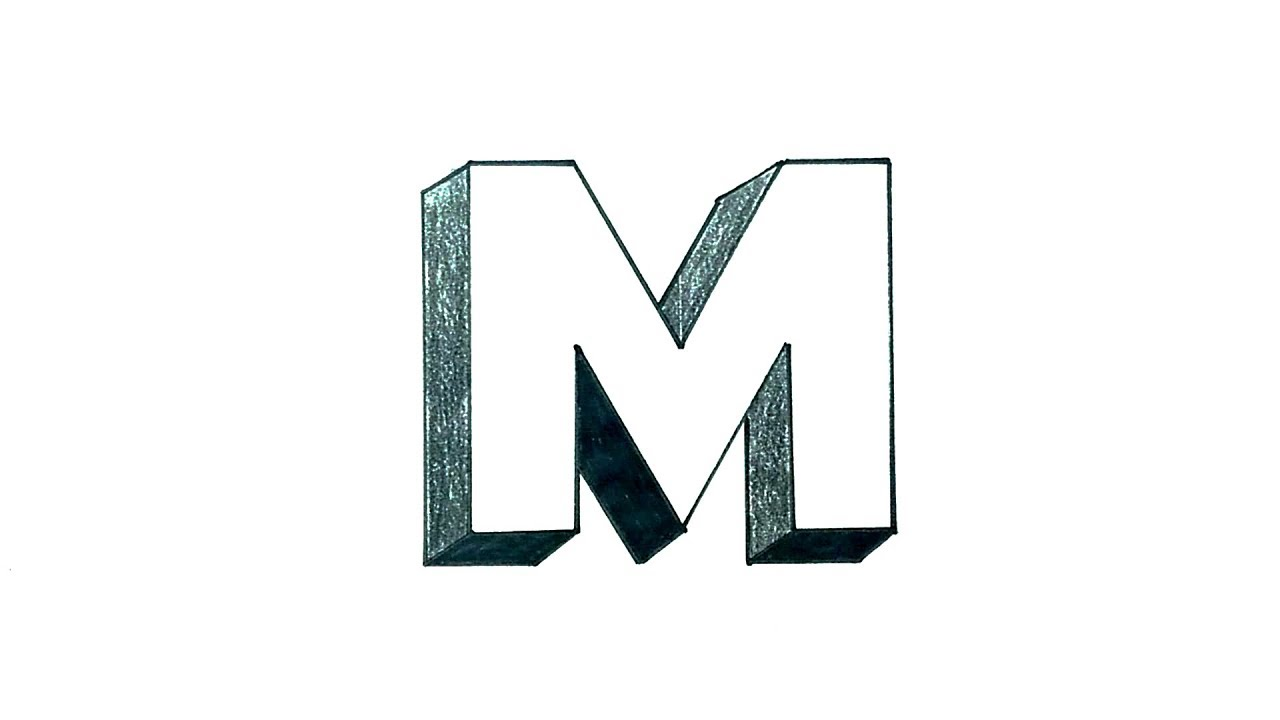 How To Draw The Letter M In 3d Youtube