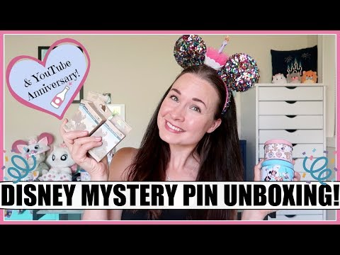 DISNEY MYSTERY PIN UNBOXING & 1 YEAR YOUTUBE ANNIVERSARY!