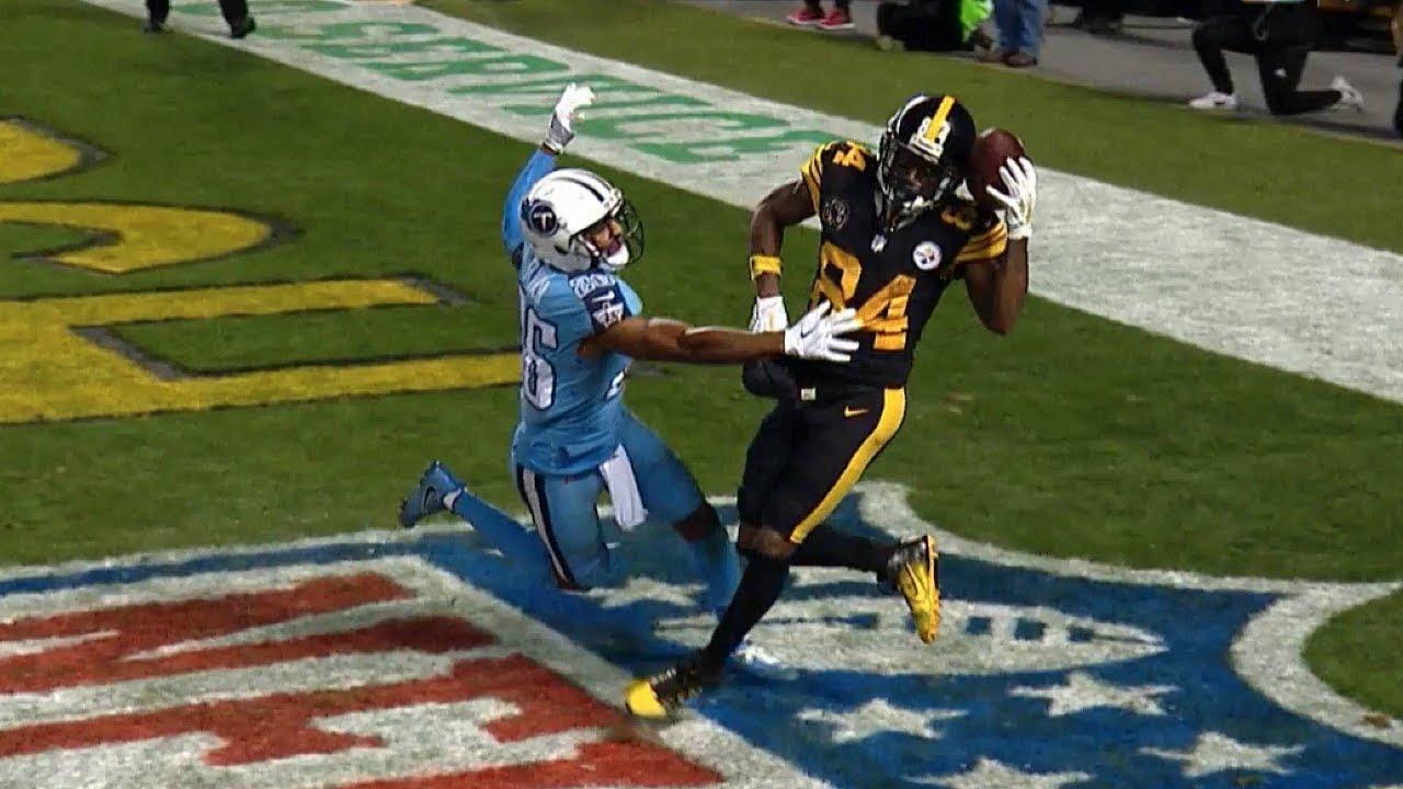Antonio Brown Insane One Handed Helmet Catch Titans Vs