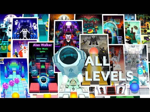 Rolling Sky All Levels 100% Clear - All Crowns & Gems Ignite,MidnightCarnival,Street Basketball etc.