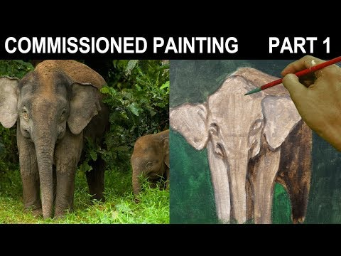 Commissioned Acrylic Painting Mother and Baby Elephant in Forest Landscape Part 1