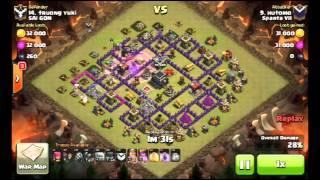 Clash of clans - danh war nha hal9 so 5