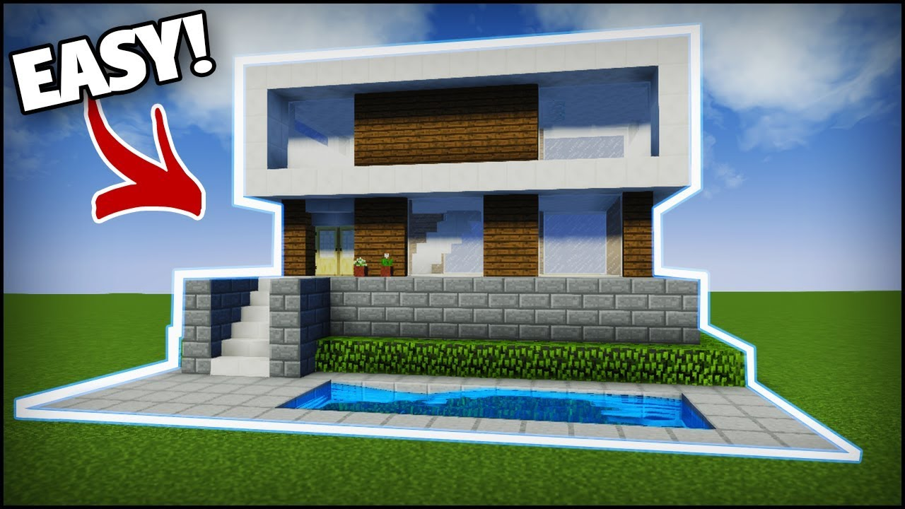 Minecraft Modern House Tutorial 1 Easy Tutorial Youtube