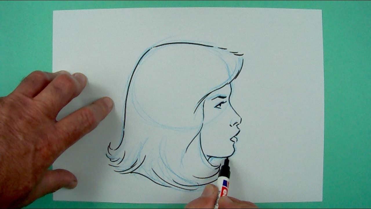 Wie Zeichnet Man Einen Frauenkopf Von Der Seite Zeichnen Fur