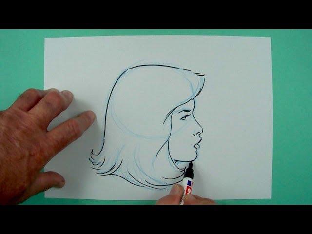 Wie zeichnet man einen Frauenkopf von der Seite? Zeichnen für Kinder