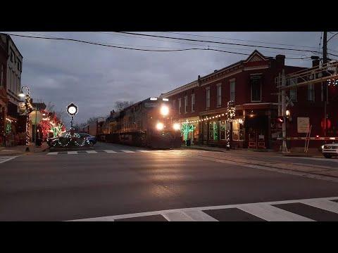 Huge CSX Manifest Street Running Down Main Street At Lagrange KY