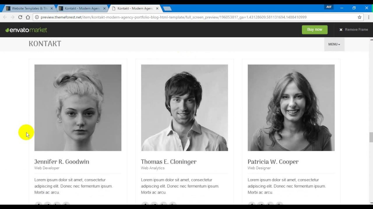 Kontakt Modern Agency Portfolio + Blog HTML Template - YouTube