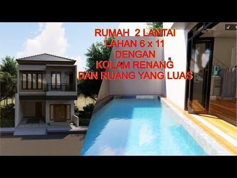 Desain Rumah 2 Lantai Dengan Kolam Renang Di Lahan 6 X 11 Meter Persegi Youtube