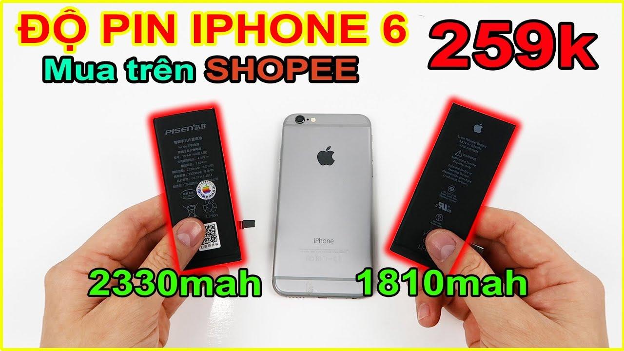 Mua pin khủng (2330mah) iPhone 6 giá 259k trên SHOPEE về nhà tự thay   MUA HÀNG ONLINE