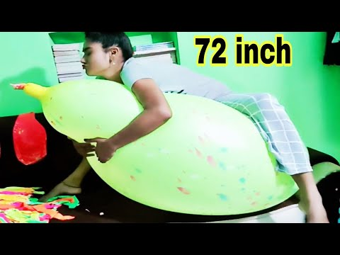 72 inches 😱 Indian gent balloon blowing and sitting on it with bouncing. biggest Indian balloon 😨😱