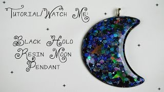 Requested Tutorial - Black Holo Crescent Moon Pendant