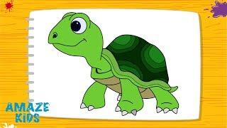 Как Нарисовать Животных Черепаху для Детей🐢 Рисунки Своими Руками. Уроки Рисования для Начинающих