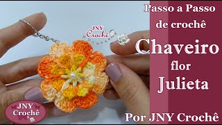 Chaveiro Flor Julieta por JNY Crochê