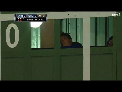 Operator sleeps in Wrigley's scoreboard