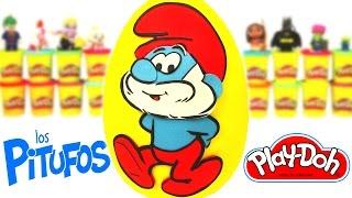 Huevo Sorpresa Gigante de Los Pitufos en Español de Plastilina Play Doh