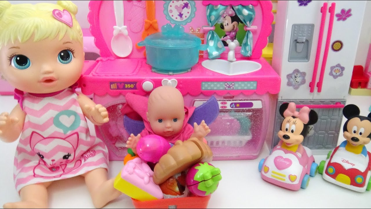 Baby Alive Doll Disney Minnie Mouse Kitchen and Cutting Food ...