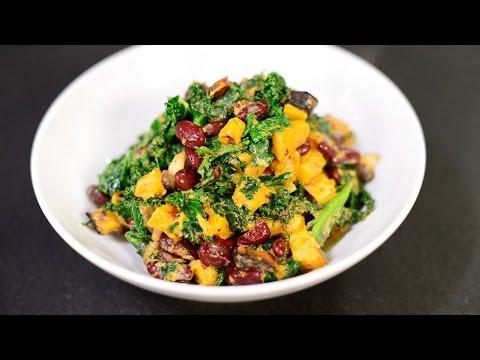 Vegetarian Stewed Kidney Beans, Butternut Squash, Kale and Mushrooms