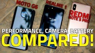 Realme 1 vs Moto G6 vs Redmi Note 5 Pro 🔥 Performance, Camera, Battery, and More Compared!