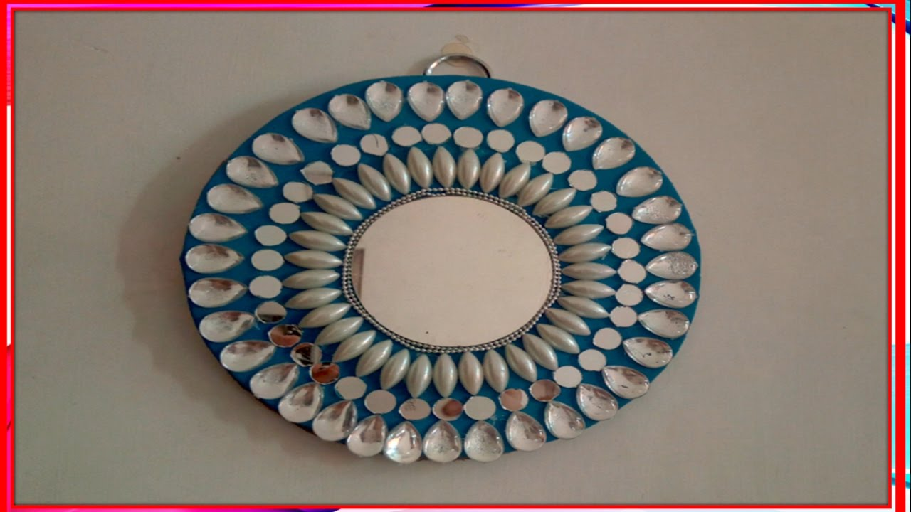 Diy how to make beautiful mirror wall hanging youtube amipublicfo Images