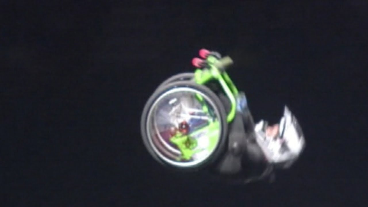 Amazing Stunts: World's first man to do a double back flip in a wheelchair