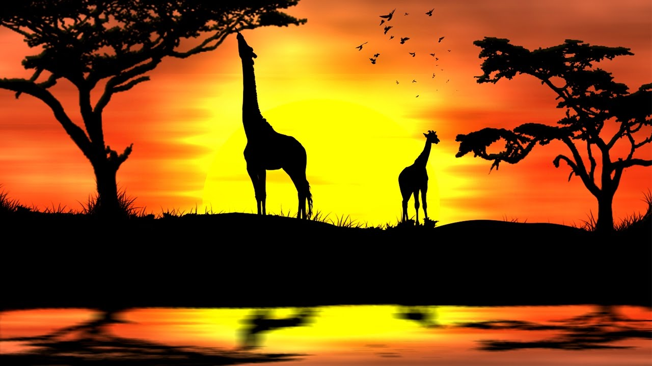 Coucher de soleil africain avec photoshop youtube - Dessin paysage africain ...