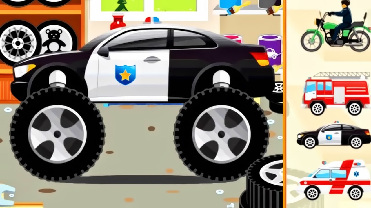 Cars For Kids Monster Truck Police Car Ambulance Fire Truck