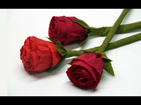 DIY rose paper - How to make paper flowers - Rose / Crepe paper rose flower / DIY beauty and easy