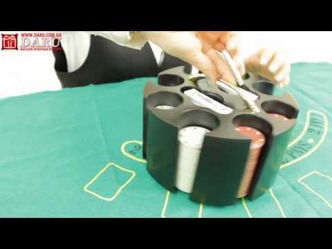 Покерный набор, 200 фишек. Набор для игры в покер в круглой подставке с ручкой.