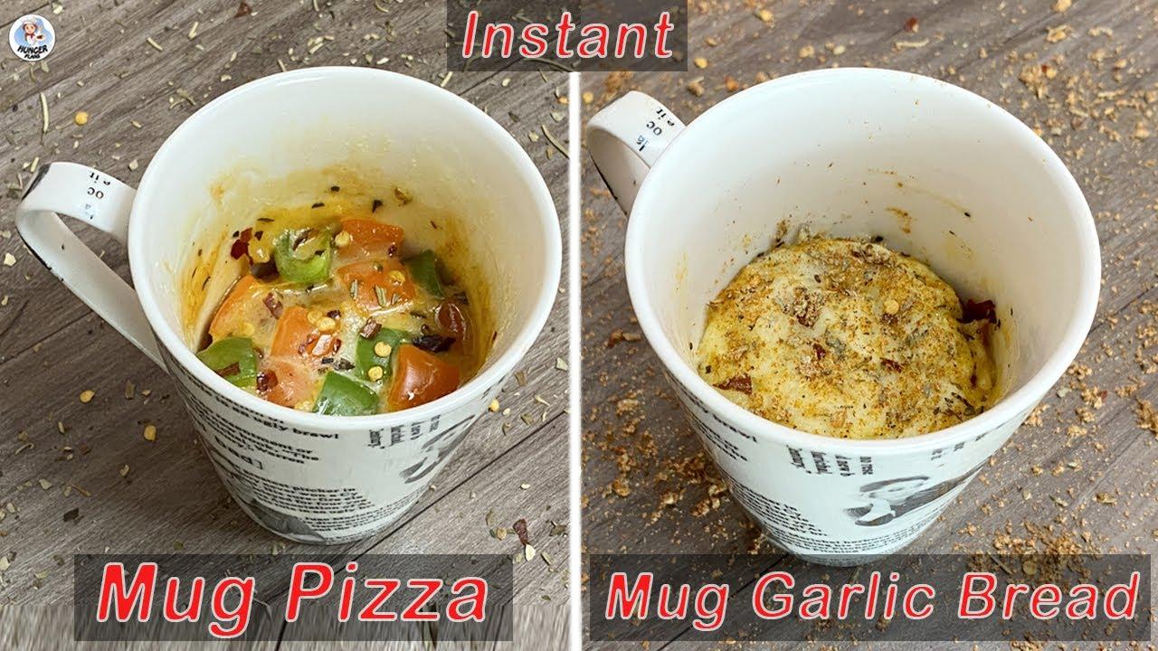 Mug Pizza & Mug Garlic Bread Recipe | 2-Min Pizza & Garlic Bread | Instant Mug Recipes | HungerPlans