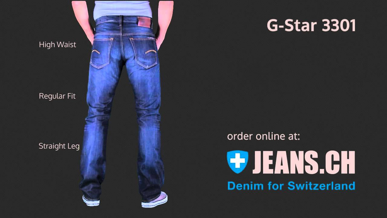 g star 3301 straight jeans fit videos von jeans ch youtube. Black Bedroom Furniture Sets. Home Design Ideas