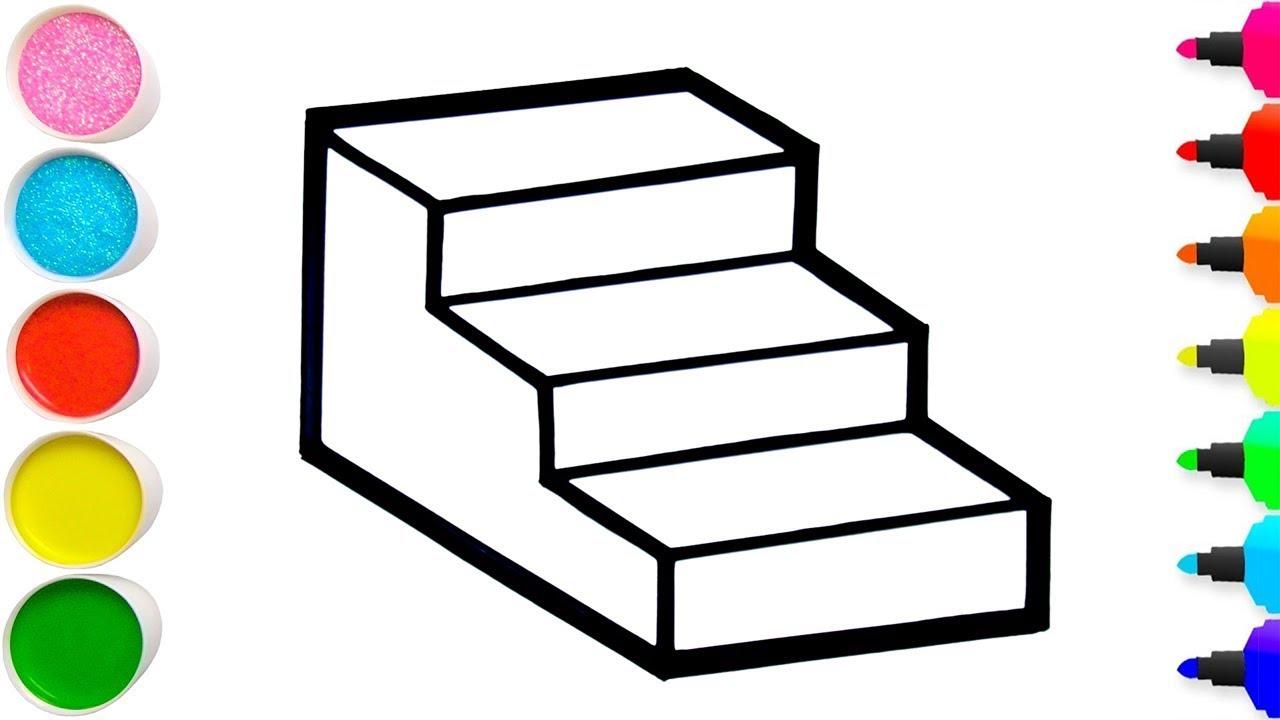 Vẽ cầu thang 3D đơn giản và tô màu cho bé | Dạy bé vẽ | Cara Menggambar dan Mewarnai Tangga