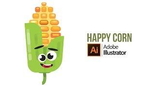 Flache Glücklich Mais-Zeichen Tutorial in Illustrator