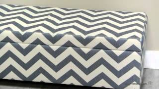 Angelo:home Kent Storage Bench Ottoman - Blue Chevron