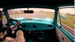 John Cleland drives Nash Metropolitan race car