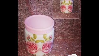 decoupage mason jar with glitter DIY ideas decorations craft tutorial / URADI SAM