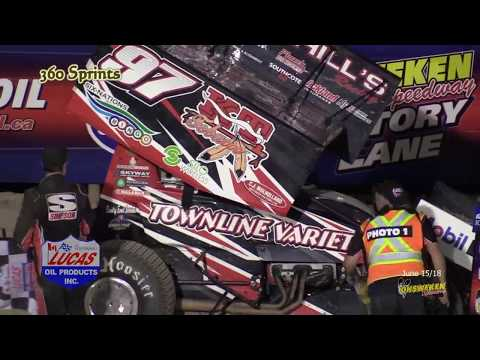 tHe LaSt LAp June 15/18 Ohsweken Speedway. Another great race day. Fun had by all. Nasty crash during the Crate B-Main. Wall of Fame covered. Top Gun. - dirt track racing video image