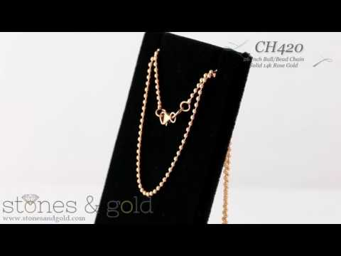 1.5 MM Solid 14K Rose Gold Round ball Chain Necklace   CH420
