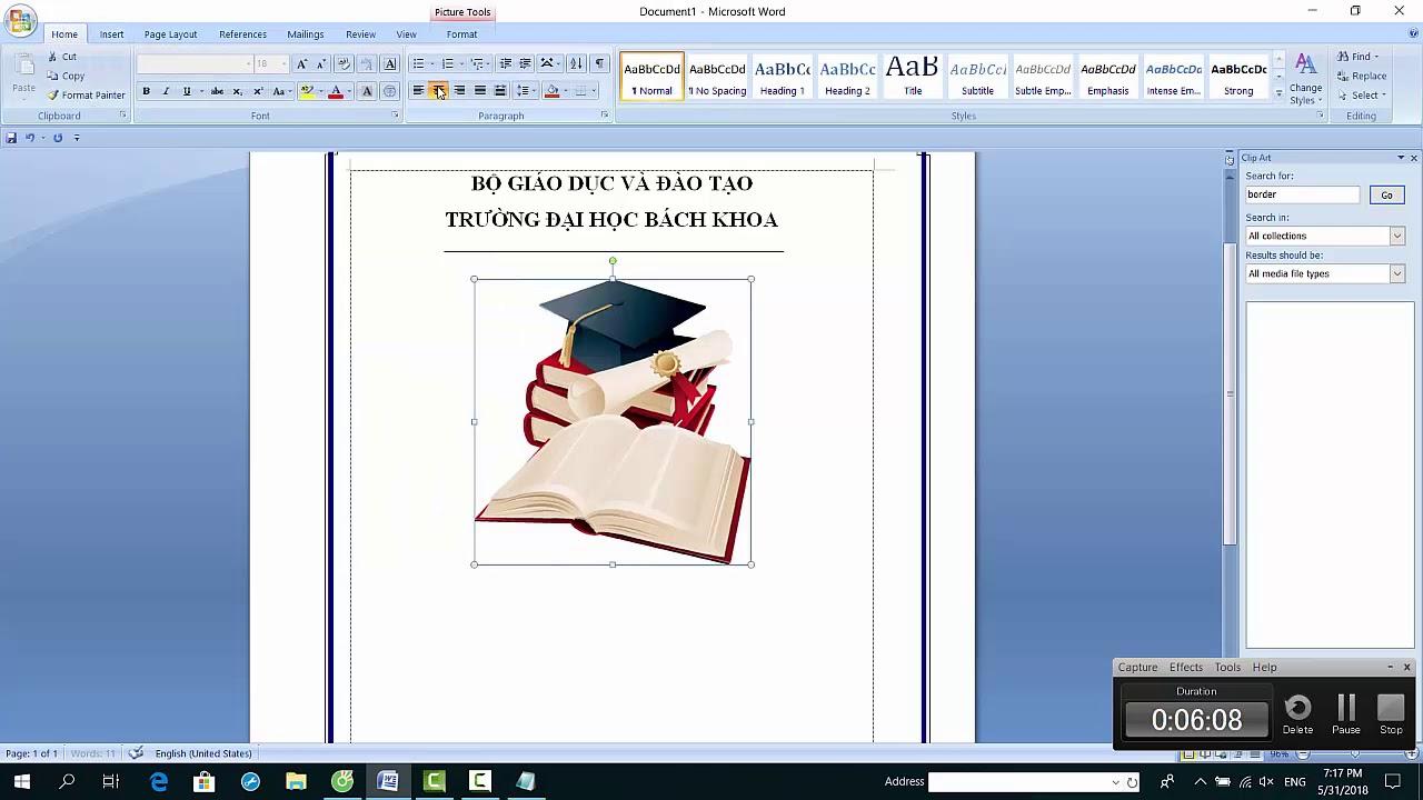 cách tạo trang bìa báo cáo, luận văn trong word 2007