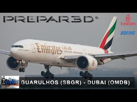 PREPAR3D | B777 EMIRATES | SBGR (GUARULHOS) - DUBAI (OMDB) | IVAO | VOO COMPLETO