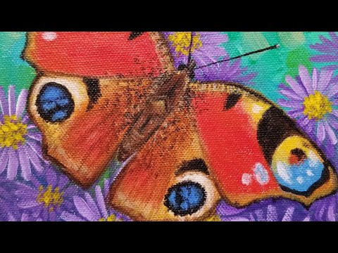 Peacock Butterfly Acrylic Painting LIVE Instruction